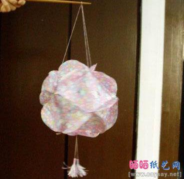 漂亮的绣球花灯折纸教程