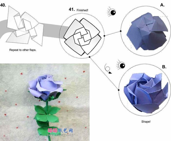 蓝色妖姬纸玫瑰折法_芙荃玫瑰花的折法_植物折纸_折纸教程(三) - 晒宝手工网