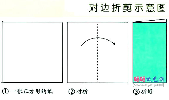 儿童学树叶剪纸前的折叠步骤图片