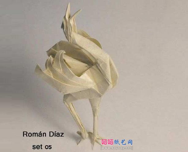 由千纸鹤折纸演变来的折纸丹顶鹤的折法教程