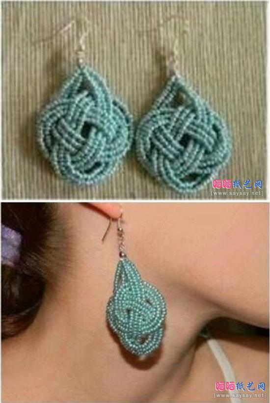 时尚小珠珠串珠耳环手工制作成品图