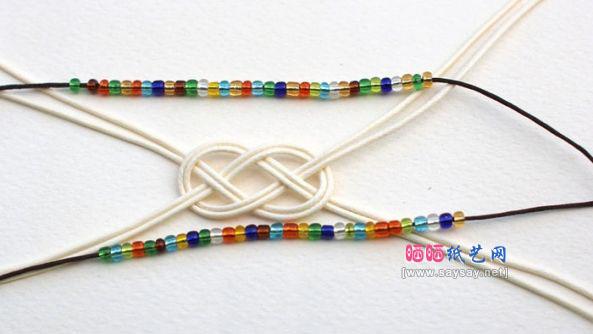 漂亮七彩玻璃珠手链串珠编织方法教程图片步骤4