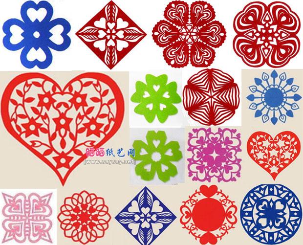 由简到难窗花剪纸教程大全16款心形窗花剪纸方法完成效果图